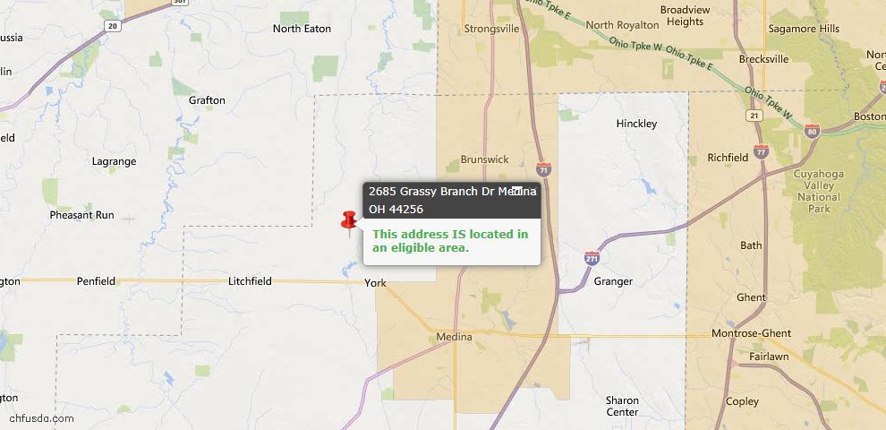 USDA Loan Eligiblity Map - 2685 Grassy Branch Dr, Medina, OH 44256
