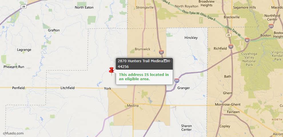 USDA Loan Eligiblity Map - 2870 Hunters Trl, Medina, OH 44256