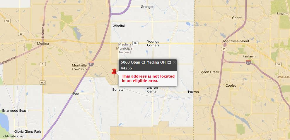 USDA Loan Eligiblity Maps From - Sharon, OH