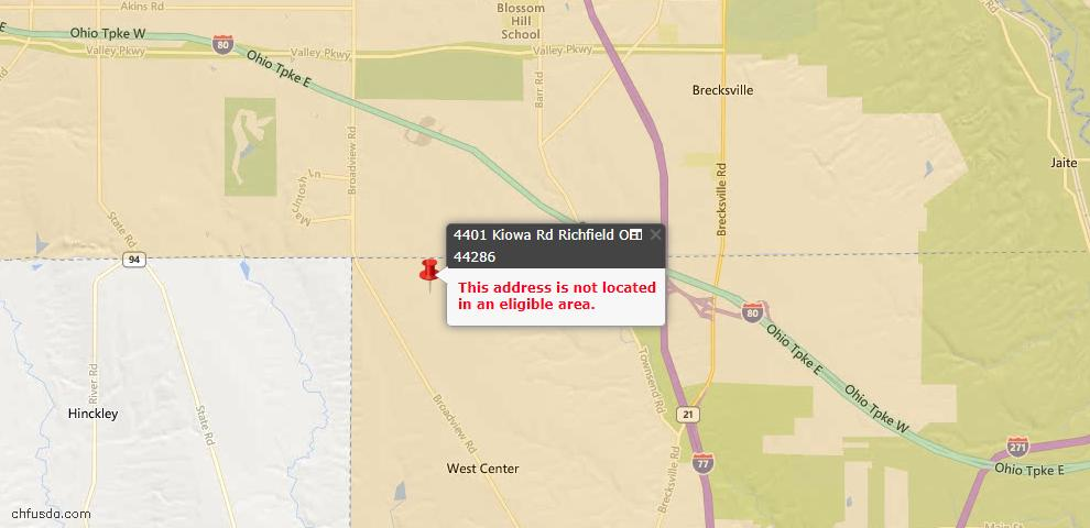 USDA Loan Eligiblity Maps From - Richfield, OH