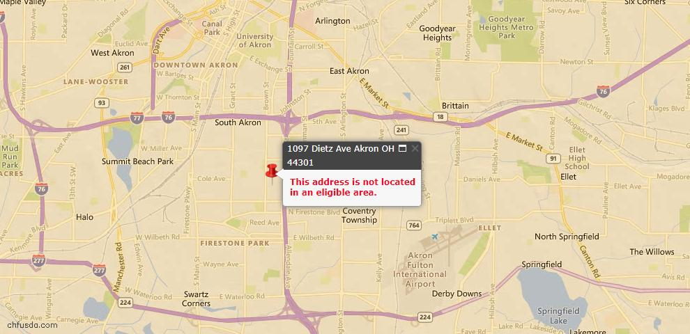 USDA Loan Eligiblity Map - 1097 Dietz Ave, Akron, OH 44301