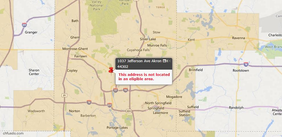 USDA Loan Eligiblity Map - 1037 Jefferson Ave, Akron, OH 44302
