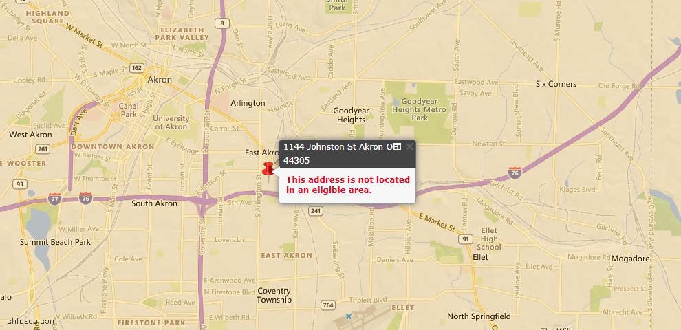 USDA Loan Eligiblity Map - 1144 Johnston St, Akron, OH 44305