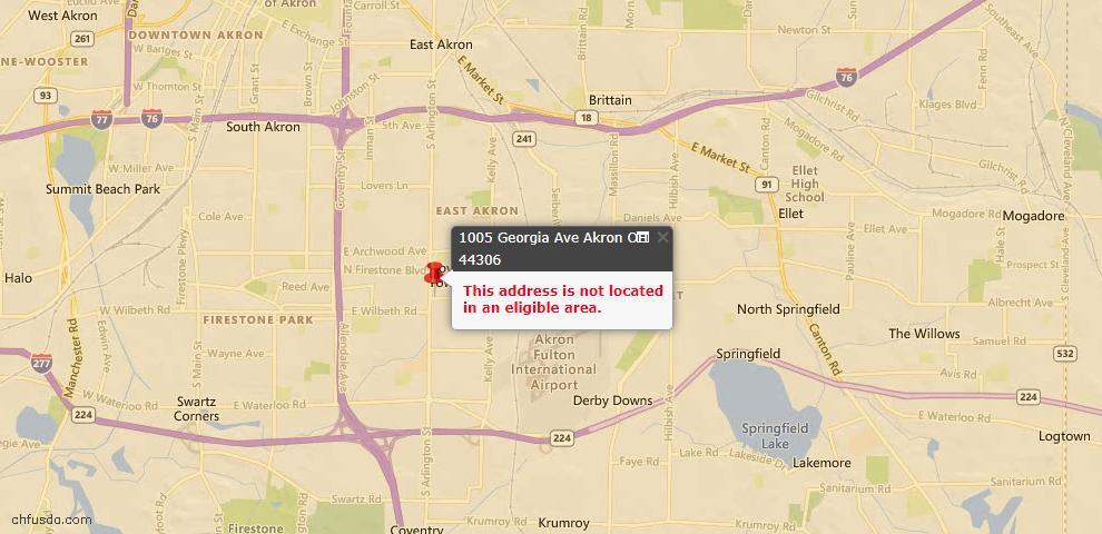 USDA Loan Eligiblity Map - 1005 Georgia Ave, Akron, OH 44306