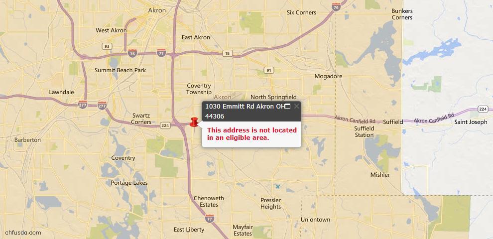 USDA Loan Eligiblity Map - 1030 Emmitt Rd, Akron, OH 44306
