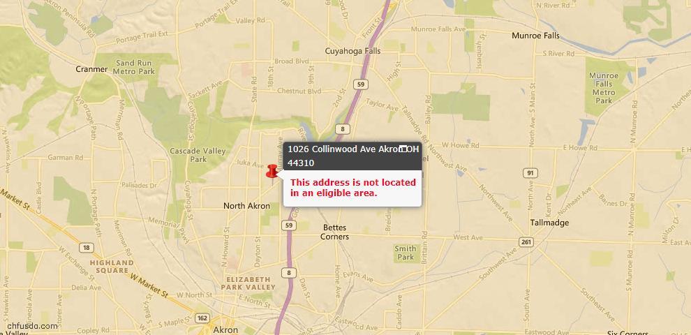 USDA Loan Eligiblity Map - 1026 Collinwood Ave, Akron, OH 44310