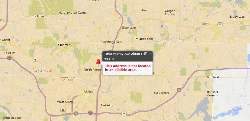USDA Loan Eligiblity Map - 1050 Murray Ave, Akron, OH 44310