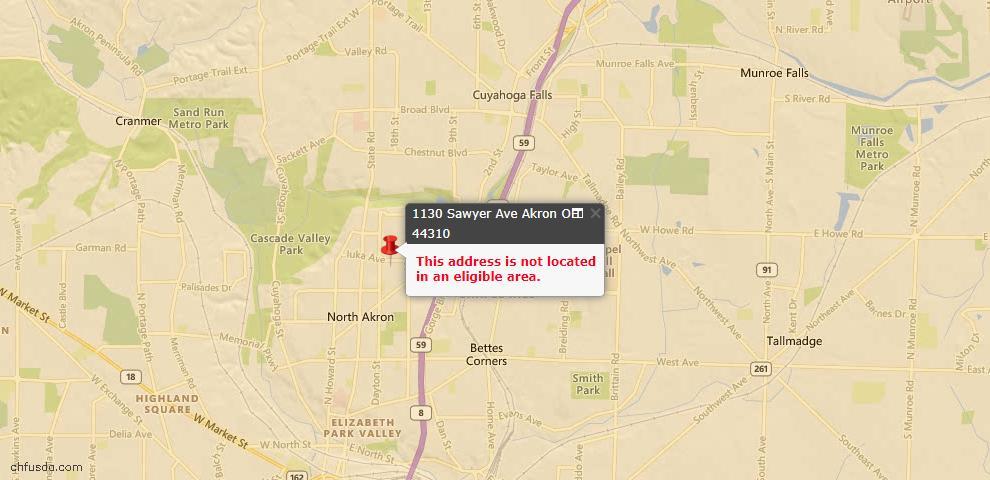 USDA Loan Eligiblity Map - 1130 Sawyer Ave, Akron, OH 44310