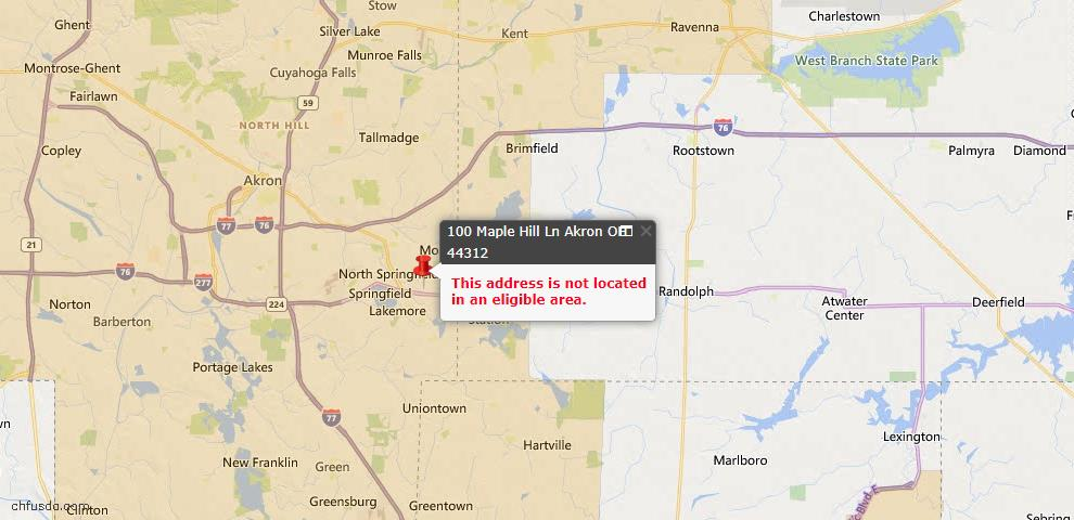 USDA Loan Eligiblity Map - 100 Maple Hill Ln, Akron, OH 44312