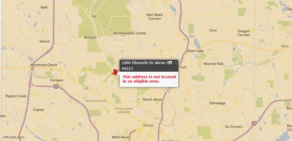 USDA Loan Eligiblity Map - 1000 Ellsworth Dr, Akron, OH 44313