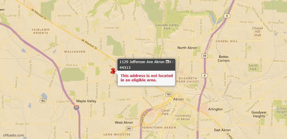 USDA Loan Eligiblity Map - 1129 Jefferson Ave, Akron, OH 44313