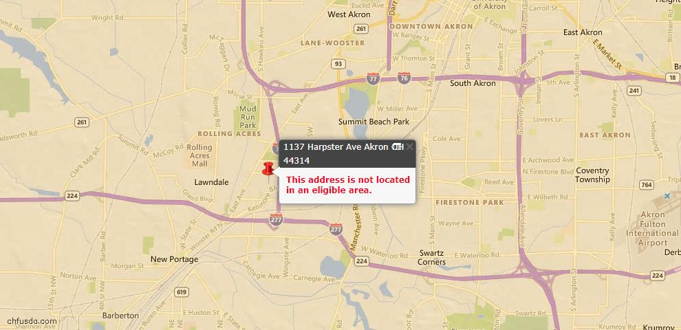 USDA Loan Eligiblity Map - 1137 Harpster Ave, Akron, OH 44314