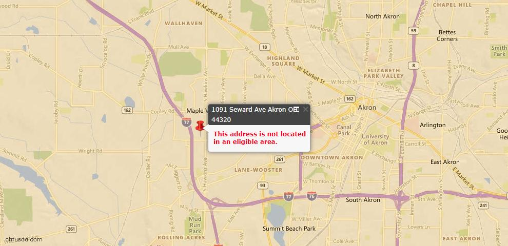USDA Loan Eligiblity Map - 1091 Seward Ave, Akron, OH 44320