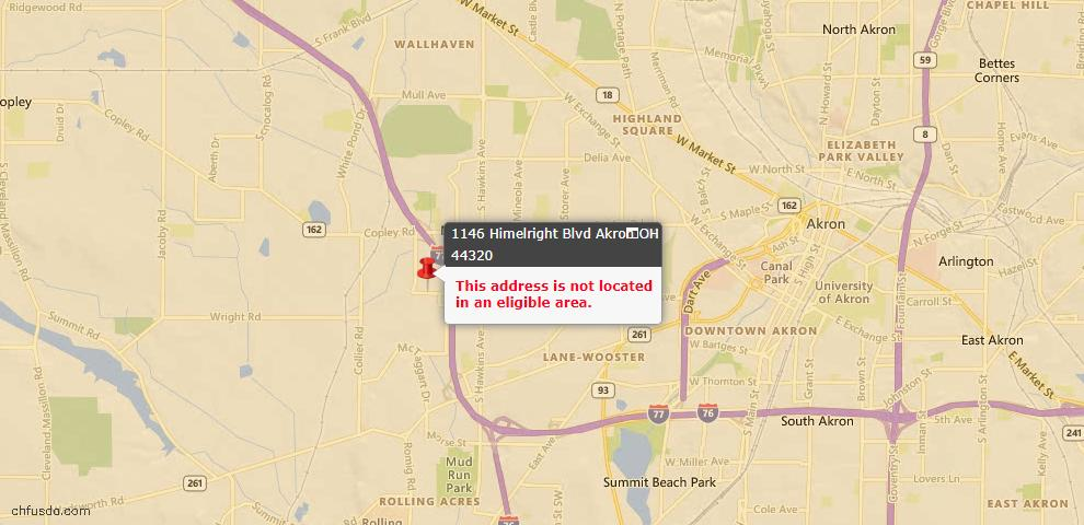 USDA Loan Eligiblity Map - 1146 Himelright Blvd, Akron, OH 44320
