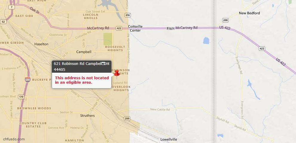 USDA Loan Eligiblity Maps From - Campbell, OH