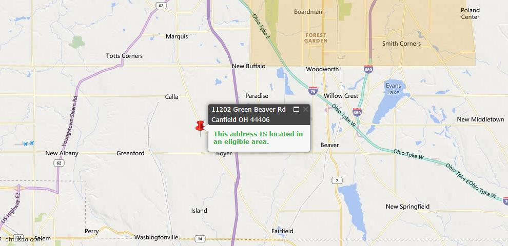 USDA Loan Eligiblity Map - 11202 Green Beaver Rd, Canfield, OH 44406