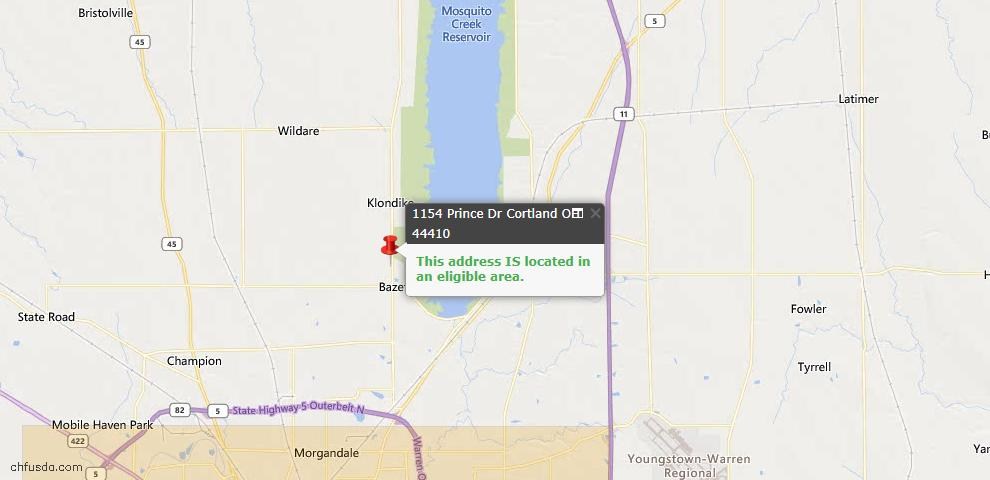 USDA Loan Eligiblity Map - 1154 Prince Dr, Cortland, OH 44410