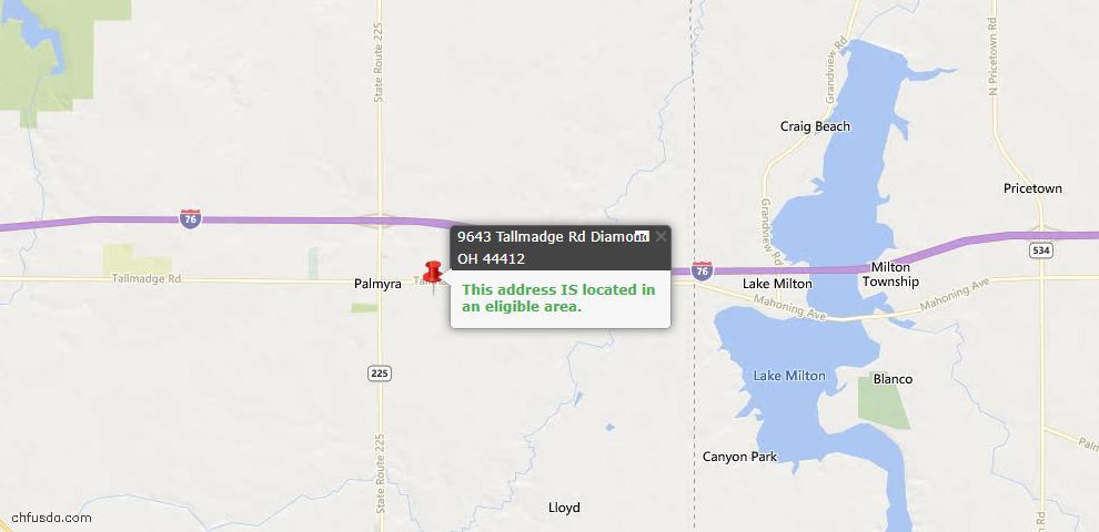 USDA Loan Eligiblity Maps From - Palmyra, OH