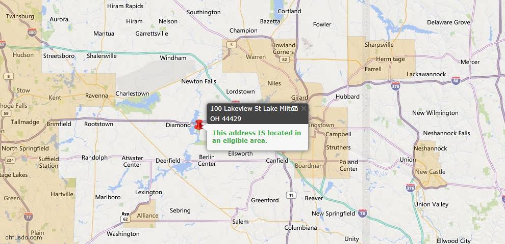 USDA Loan Eligiblity Map - 100 Lakeview St, Lake Milton, OH 44429