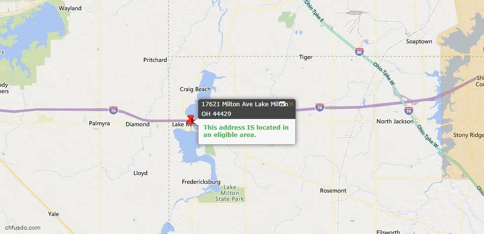USDA Loan Eligiblity Maps From - Lake Milton, OH