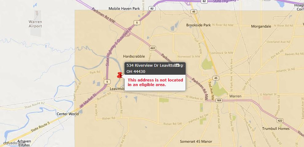 USDA Loan Eligiblity Maps From - Leavittsburg, OH