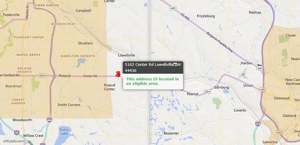 USDA Loan Eligiblity Maps From - Lowellville, OH