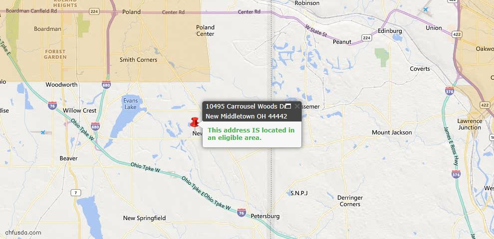 USDA Loan Eligiblity Map - 10495 Carrousel Woods Dr, New Middletown, OH 44442