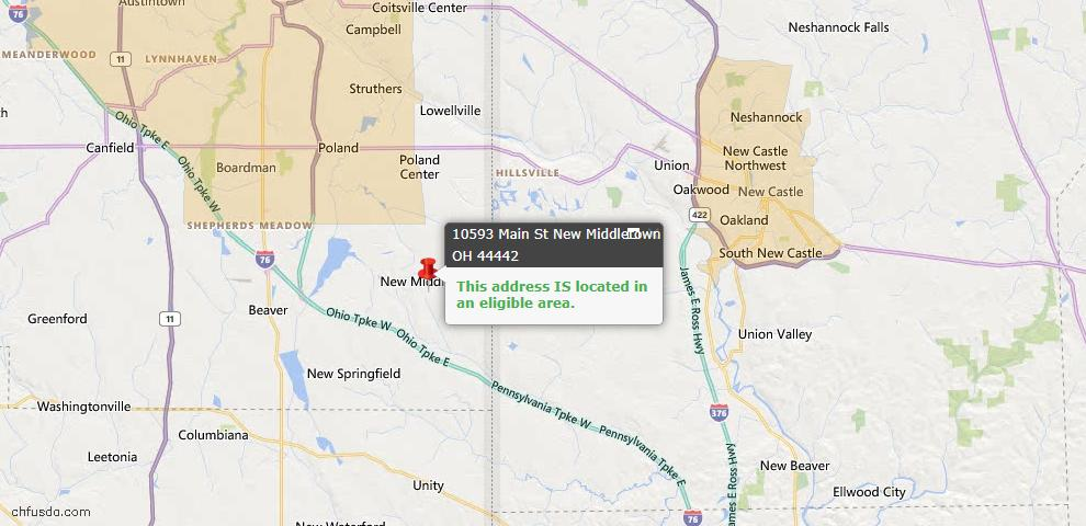 USDA Loan Eligiblity Map - 10593 Main St, New Middletown, OH 44442