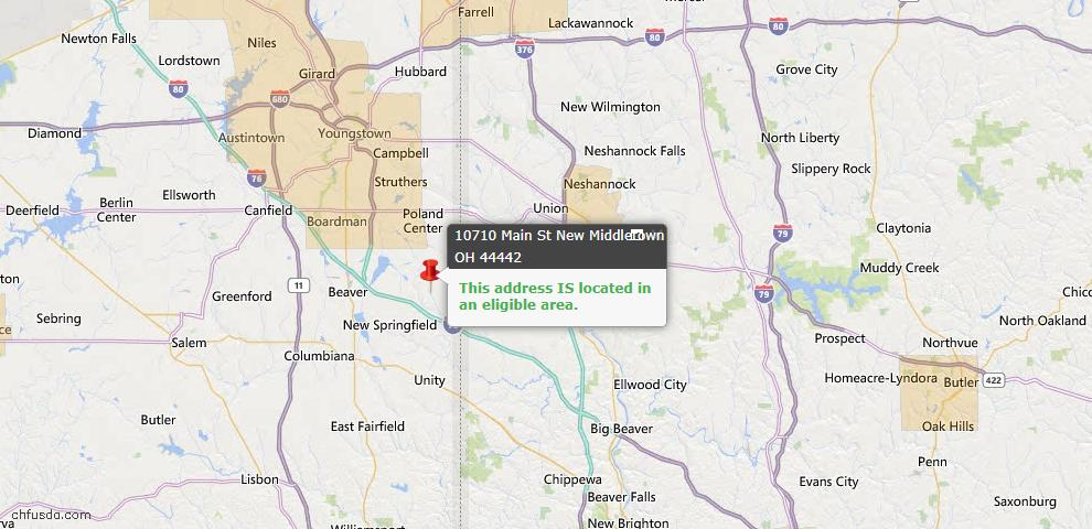 USDA Loan Eligiblity Map - 10710 Main St, New Middletown, OH 44442