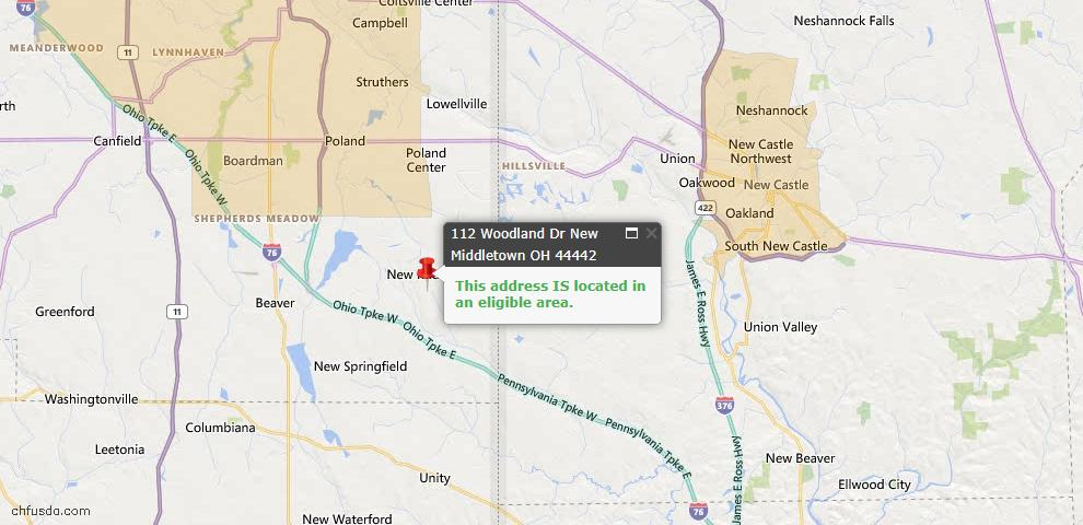 USDA Loan Eligiblity Map - 112 Woodland Dr, New Middletown, OH 44442