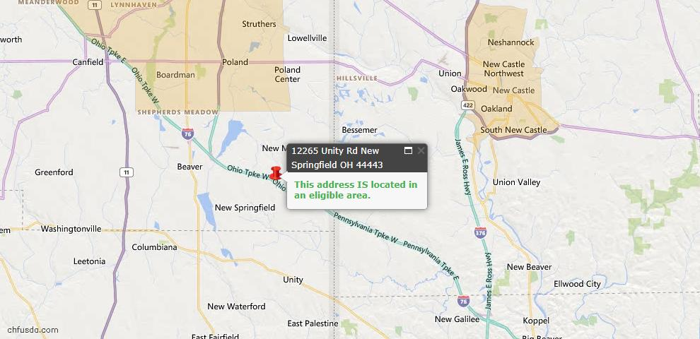USDA Loan Eligiblity Map - 12265 Unity Rd, New Springfield, OH 44443