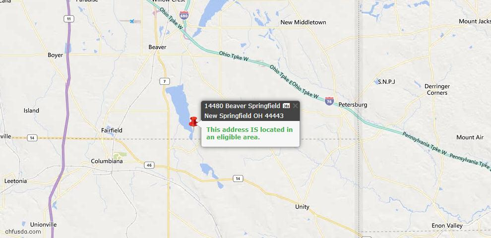 USDA Loan Eligiblity Maps From - New Springfield, OH