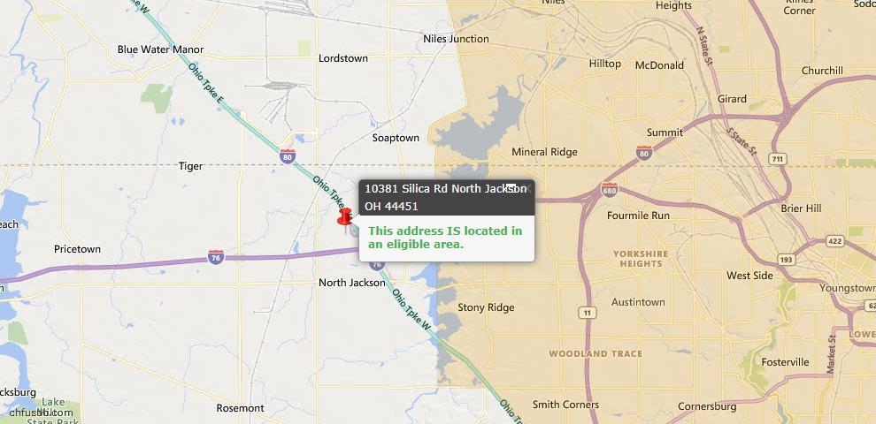 USDA Loan Eligiblity Map - 10381 Silica Rd, North Jackson, OH 44451