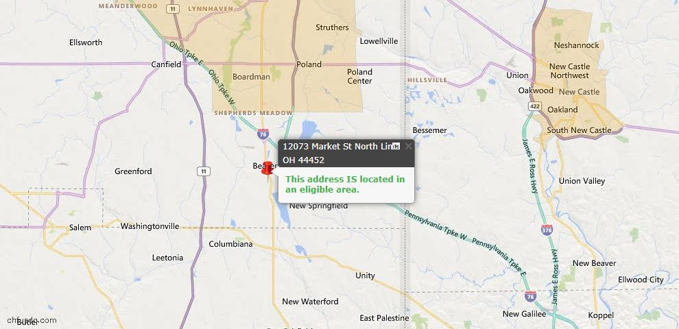 USDA Loan Eligiblity Map - 12073 Market St, North Lima, OH 44452