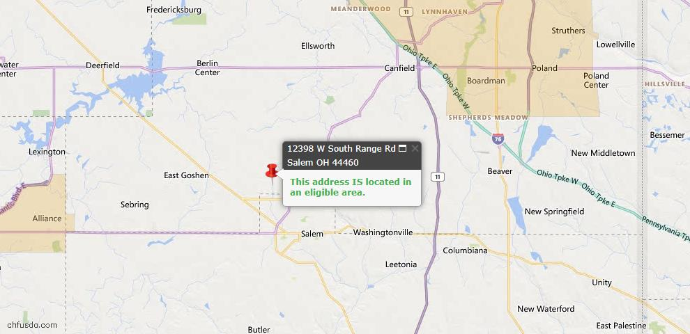 USDA Loan Eligiblity Map - 12398 W South Range Rd, Salem, OH 44460