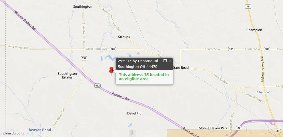USDA Loan Eligiblity Maps From - Southington, OH