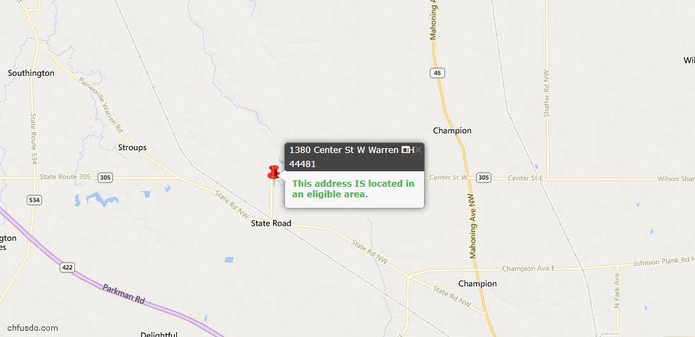 USDA Loan Eligiblity Map - 1380 Center St W, Warren, OH 44481