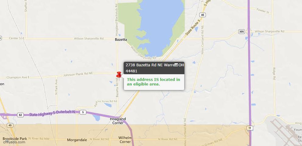 USDA Loan Eligiblity Maps From - Bazetta, OH