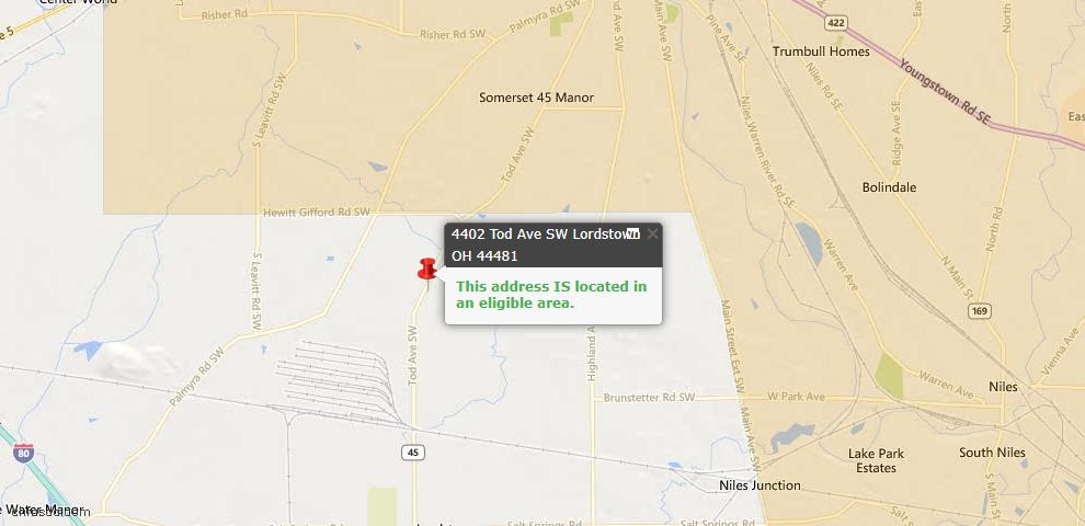 USDA Loan Eligiblity Maps From - Lordstown, OH