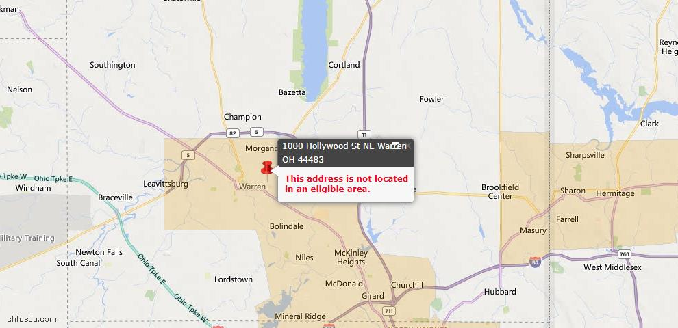 USDA Loan Eligiblity Map - 1000 Hollywood St NE, Warren, OH 44483