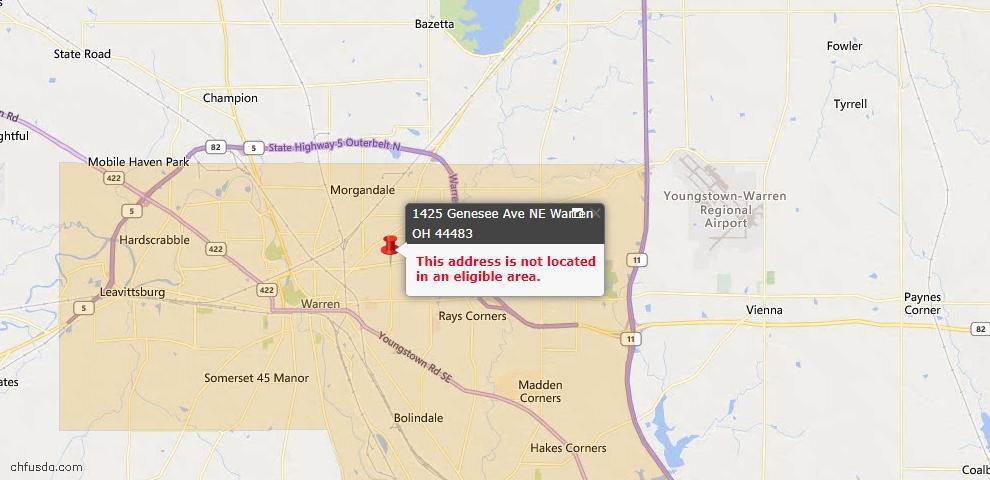 USDA Loan Eligiblity Map - 1425 Genesee, Warren, OH 44483