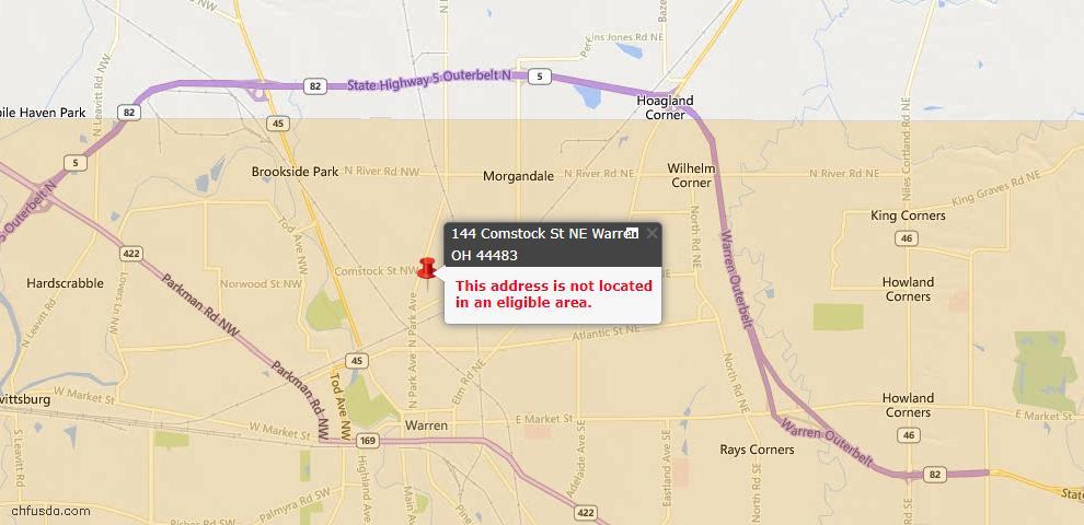 USDA Loan Eligiblity Map - 144 Comstock St NE, Warren, OH 44483