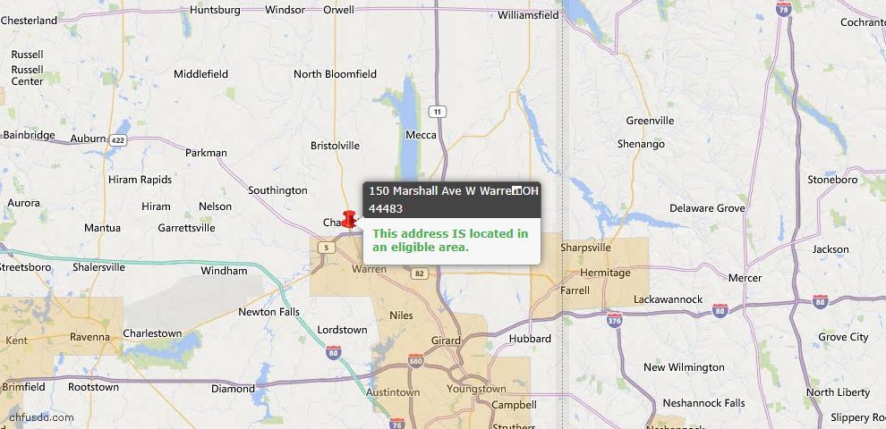 USDA Loan Eligiblity Map - 150 Marshall Ave W, Warren, OH 44483