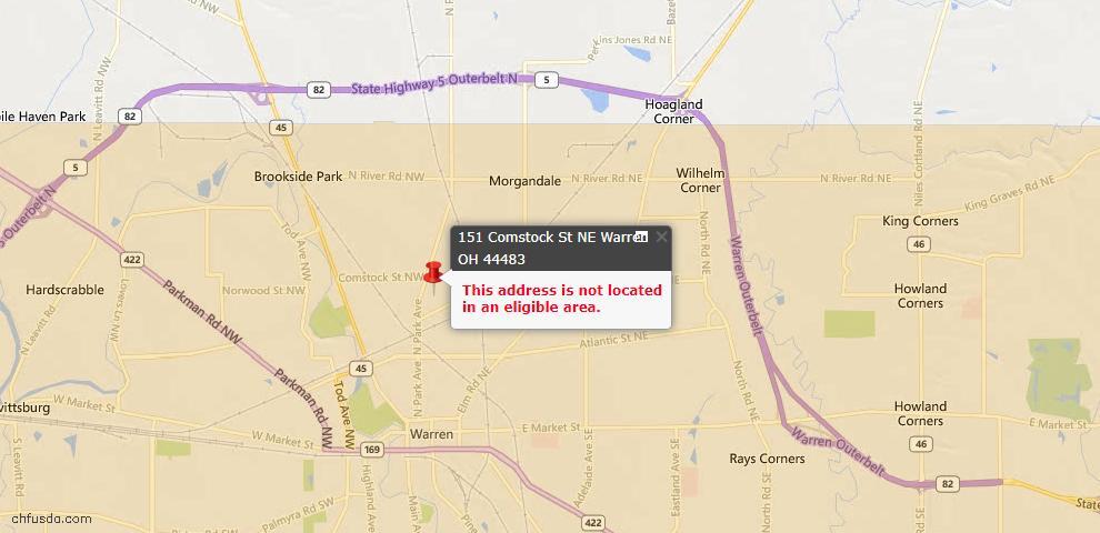USDA Loan Eligiblity Map - 151 Comstock St NE, Warren, OH 44483