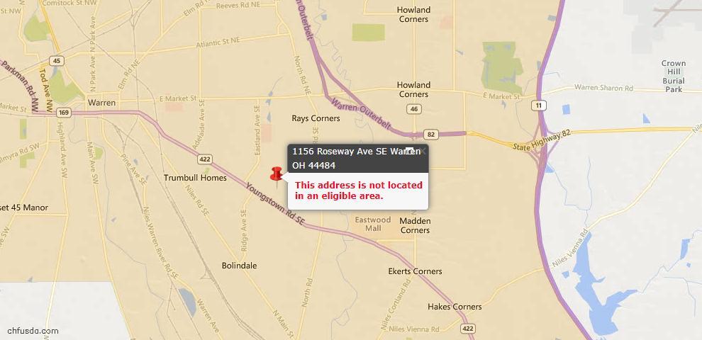 USDA Loan Eligiblity Map - 1156 Roseway, Warren, OH 44484