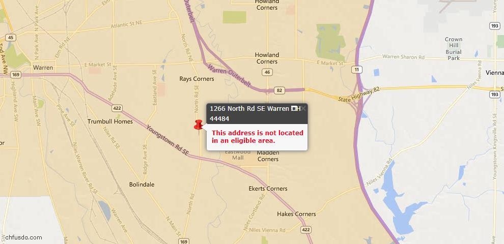 USDA Loan Eligiblity Map - 1266 North Rd SE, Warren, OH 44484