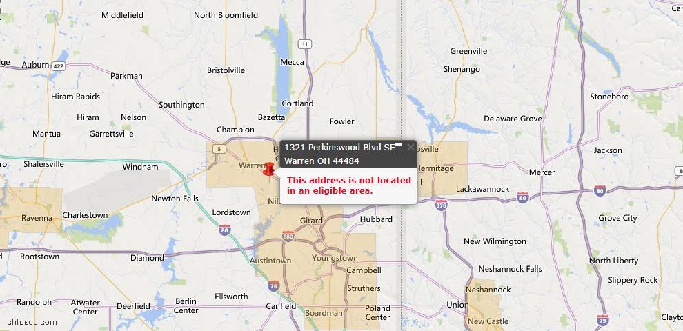 USDA Loan Eligiblity Map - 1321 Perkinswood Blvd SE, Warren, OH 44484