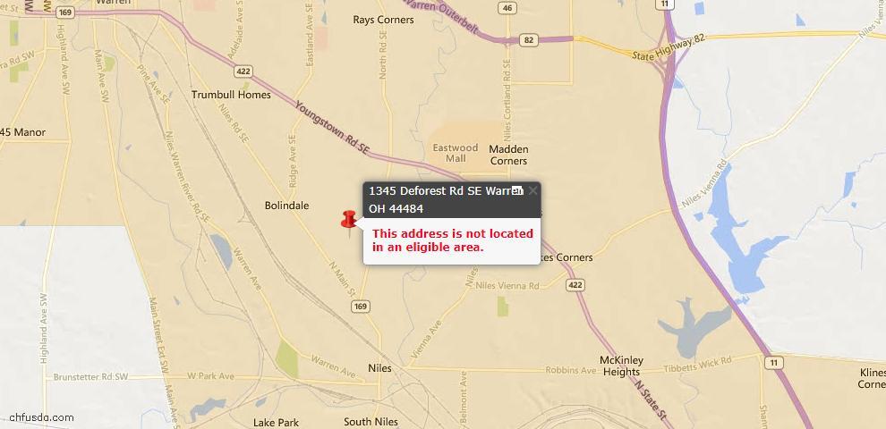 USDA Loan Eligiblity Map - 1345 Deforest Rd SE, Warren, OH 44484