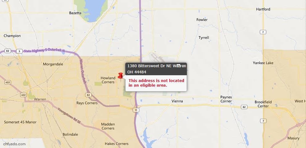 USDA Loan Eligiblity Map - 1380 Bittersweet Dr NE, Warren, OH 44484
