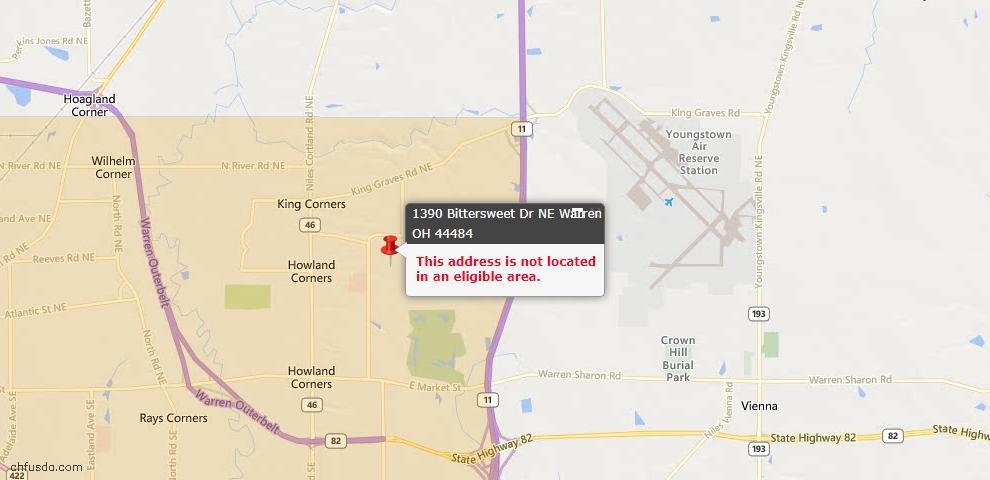 USDA Loan Eligiblity Map - 1390 Bittersweet Dr NE, Warren, OH 44484